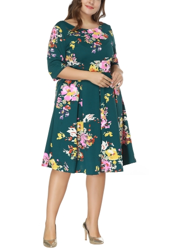 Vintage Plus Size Floral Swing Dress Round Neck Half Sleeve High Waist Back Zip Party Pleated Dress
