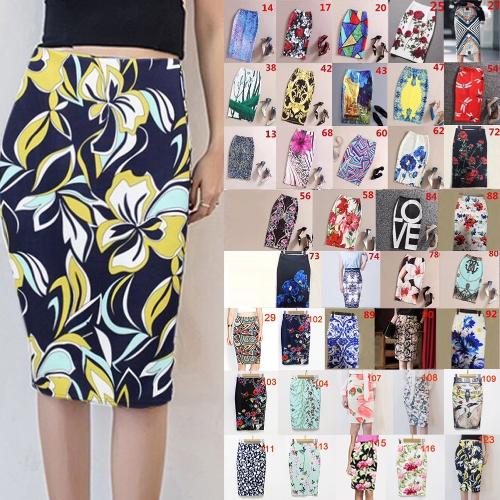 New Women Pencil Skirt Vintage Print High Waist Split Slim Elegant Retro OL Bodycon Midi Skirt