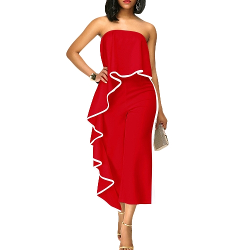 Sexy Women Off Shoulder Jumpsuit Contrast Trim Senza spalline Backless Wide Leg Playsuit Pagliaccetti Rosso / Bianco