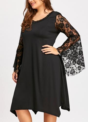 Elegant Women Lace Dress Flare Sleeve O-Neck Asymmetric Sexy Loose Plus Size Party Dress Black