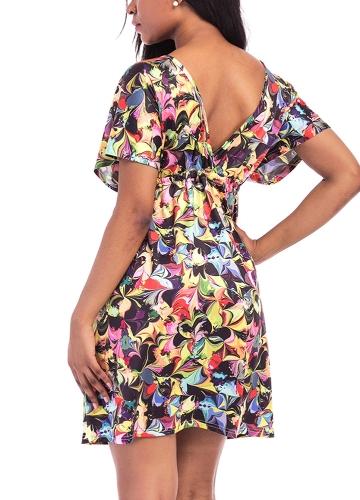 New Sexy Women Plus Size Print Mini Dress V Neck Short Sleeve Elastic Waist Summer Beach Pleated Dress