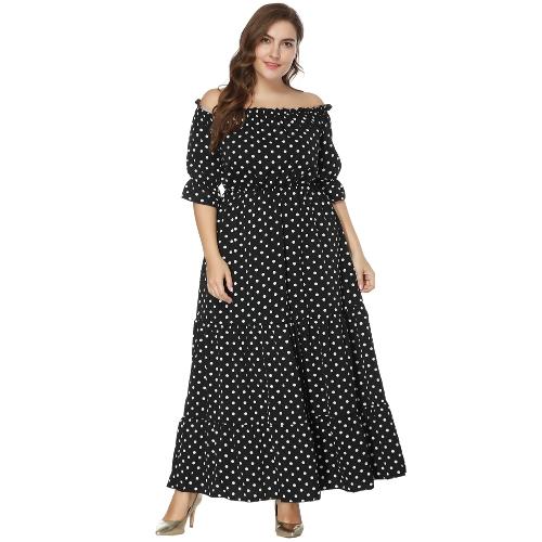 New Women Plus Size Off the Shoulder Dress Polka Dot Print Half Sleeves Elastic Waist Boho Maxi Long Dresses