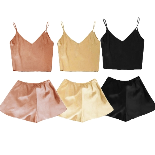 Sexy Women Silk Satin Pajamas Set Deep V Neck Cami Top Shorts PJ Set Sleepwear Nightwear