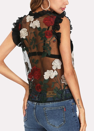 Women Sheer Mesh Blouse Floral Embroidery Ruffles Sleeveless O-Neck Sexy Top Pullover Black