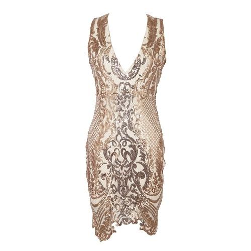 Women Sequins Dress Sleeveless Deep V Neck Cut Out Back Asymmetrical Hem Party Dress