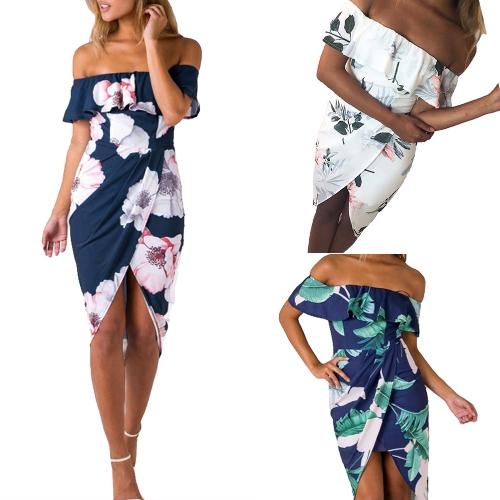 Sexy Women Boho Off Shoulder Dress Ruffles Floral Print Asymmetric Ruched Split Summer Beach Holiday Dress White/Blue/Green