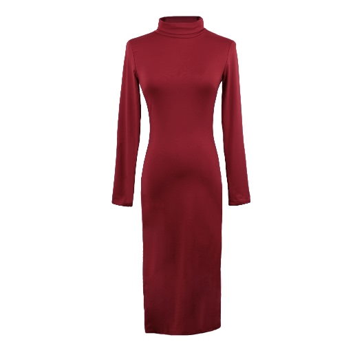 Sexy Turtleneck Long Sleeve Solid Warm Bodycon Midi Dress for WomenApparel &amp; Jewelry<br>Sexy Turtleneck Long Sleeve Solid Warm Bodycon Midi Dress for Women<br>