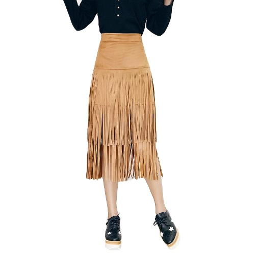 Fashion Women Fringed Tassel Skirt High Waist Side Zipper Wiggle Midi Skirt Bodycon Skirt Brown/Black/KhakiApparel &amp; Jewelry<br>Fashion Women Fringed Tassel Skirt High Waist Side Zipper Wiggle Midi Skirt Bodycon Skirt Brown/Black/Khaki<br>
