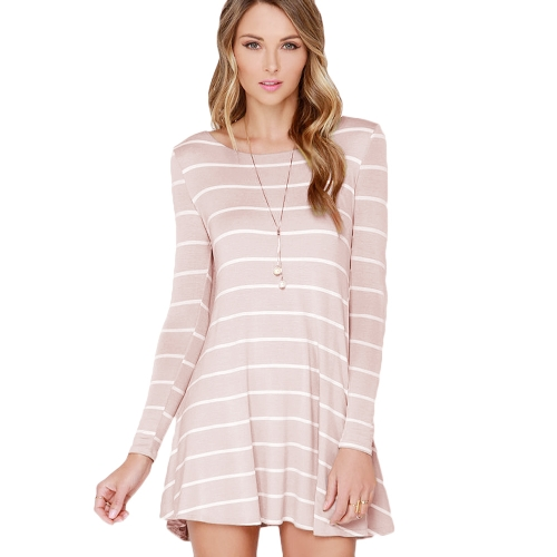 Chic Women Striped Contrast Round Neck V Backless Long Sleeve Skater Dress White/PinkApparel &amp; Jewelry<br>Chic Women Striped Contrast Round Neck V Backless Long Sleeve Skater Dress White/Pink<br>