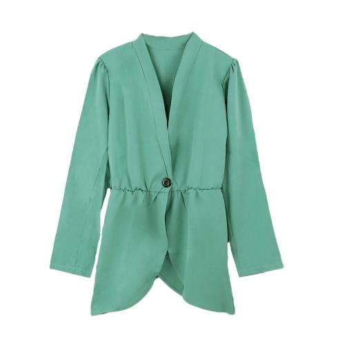 Women One Button Elastic Waist Long Sleeve Blazer Jacket Coat Watermelon Red/GreenApparel &amp; Jewelry<br>Women One Button Elastic Waist Long Sleeve Blazer Jacket Coat Watermelon Red/Green<br>