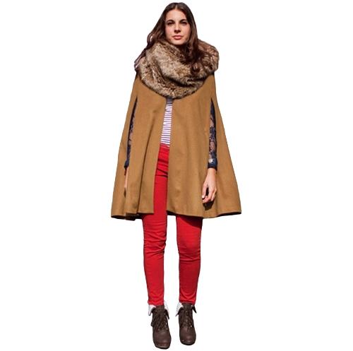 Chic Women Cape Coat Batwing Cloak Loose Poncho Warm Jacket Outerwear Camel/BlackApparel &amp; Jewelry<br>Chic Women Cape Coat Batwing Cloak Loose Poncho Warm Jacket Outerwear Camel/Black<br>