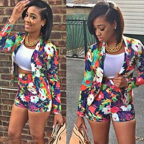 Trendy Floral Print Long Sleeve Blazer Hot Shorts Two-Piece Set for WomenApparel &amp; Jewelry<br>Trendy Floral Print Long Sleeve Blazer Hot Shorts Two-Piece Set for Women<br>