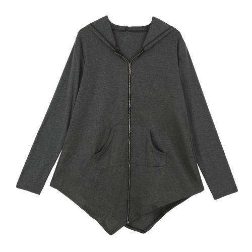 New Women Coat Long Hoodie Asymmetric Hem Zipper Closure Pockets Outerwear Sweatshirt Tops Black/GreyApparel &amp; Jewelry<br>New Women Coat Long Hoodie Asymmetric Hem Zipper Closure Pockets Outerwear Sweatshirt Tops Black/Grey<br>