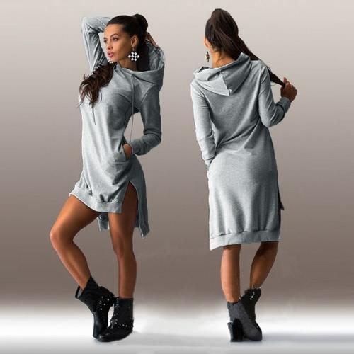 Trendy Sweatshirt Hoodie Long Sleeve Pockets Shift Dress for WomenApparel &amp; Jewelry<br>Trendy Sweatshirt Hoodie Long Sleeve Pockets Shift Dress for Women<br>