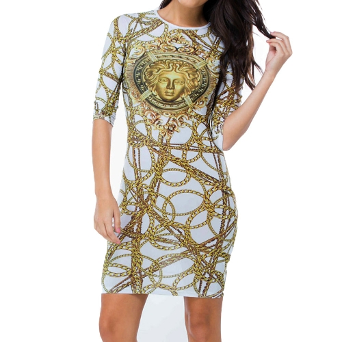 Sexy Beauty and Chain Print Long Sleeve Round Neck Bodycon Mini Club Party DressApparel &amp; Jewelry<br>Sexy Beauty and Chain Print Long Sleeve Round Neck Bodycon Mini Club Party Dress<br>