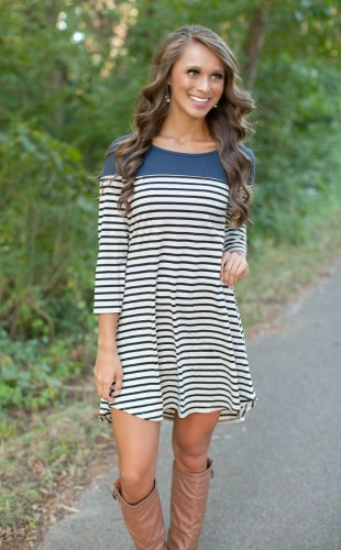 Casual Urban Women Round Neck Asymmetric Hem 3/4 Sleeve Stripe DressApparel &amp; Jewelry<br>Casual Urban Women Round Neck Asymmetric Hem 3/4 Sleeve Stripe Dress<br>