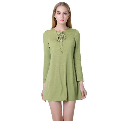 Casual Women V Neck Long Sleeve Lace Up Slim Party Skater Mini Dress