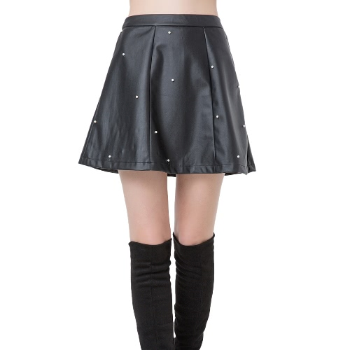 Fashion Women PU Leather Skirt Beading High Waist Back Zipper Slim Pleated A-Line SkirtApparel &amp; Jewelry<br>Fashion Women PU Leather Skirt Beading High Waist Back Zipper Slim Pleated A-Line Skirt<br>