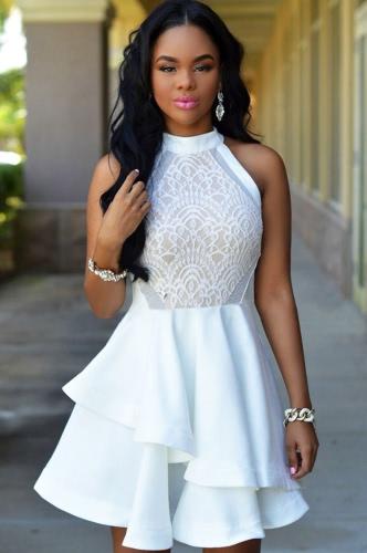 Charming Crochet Halter Sleeveless Ruffle Hem Evening Party Lace DressApparel &amp; Jewelry<br>Charming Crochet Halter Sleeveless Ruffle Hem Evening Party Lace Dress<br>