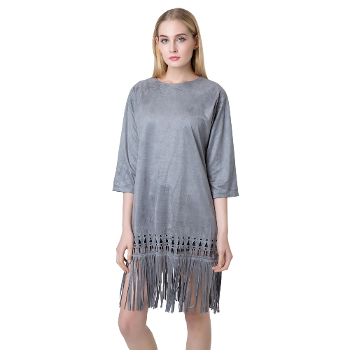 Chic Women Faux Suede Round Neck Zipper Back Tassel Hem Flapper Shift DressApparel &amp; Jewelry<br>Chic Women Faux Suede Round Neck Zipper Back Tassel Hem Flapper Shift Dress<br>