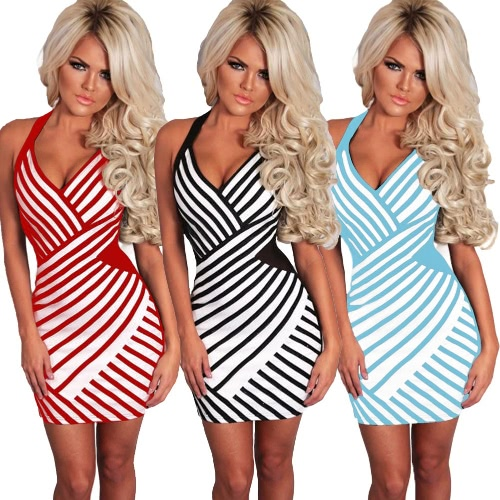 New Fashion Women Mini Dress Striped Print Color Block Halter Plunge V Sleeveless Sexy One-Piece Black/Blue/RedApparel &amp; Jewelry<br>New Fashion Women Mini Dress Striped Print Color Block Halter Plunge V Sleeveless Sexy One-Piece Black/Blue/Red<br>