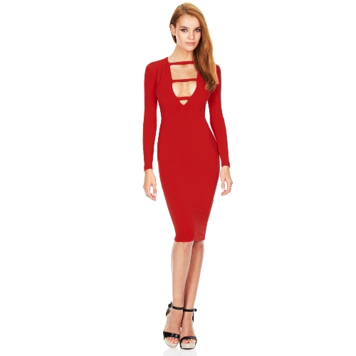 Sexy Women Deep V-Neck Cross Design Long Sleeve Bodycon Knee-Length Party DressApparel &amp; Jewelry<br>Sexy Women Deep V-Neck Cross Design Long Sleeve Bodycon Knee-Length Party Dress<br>