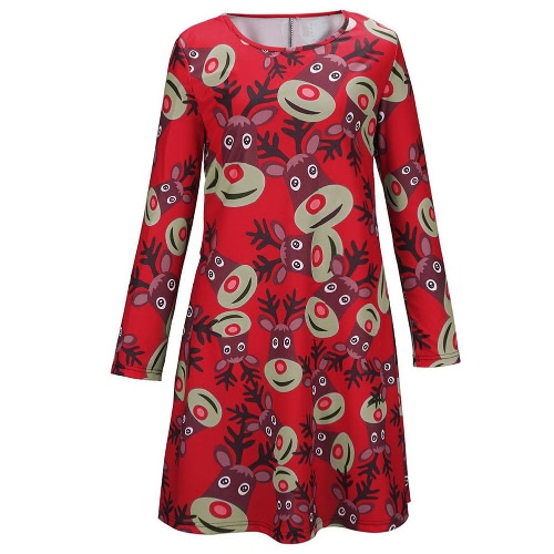 Fashion Chirstmas Women Reindeer Print Color Block Long Sleeve Cute One-piece Mini DressApparel &amp; Jewelry<br>Fashion Chirstmas Women Reindeer Print Color Block Long Sleeve Cute One-piece Mini Dress<br>
