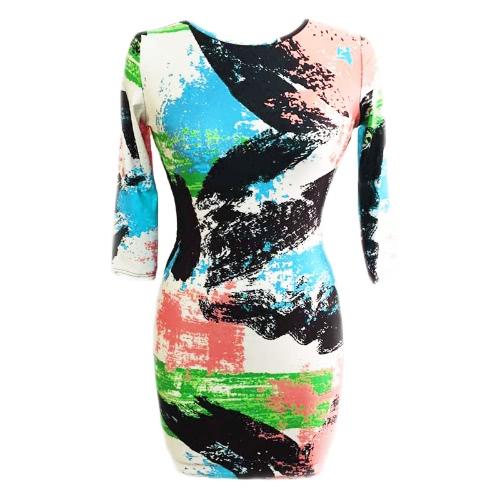 New Fashion Women Dress Abstract Brushstroke Print Round Neck 3/4 Sleeve Bodycon Dress GreenApparel &amp; Jewelry<br>New Fashion Women Dress Abstract Brushstroke Print Round Neck 3/4 Sleeve Bodycon Dress Green<br>