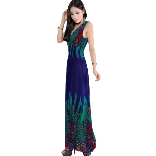 New Women Bohemian Long Dress V Neck Sleeveless Casual Beach Dress Sundress Orange/Black/BlueApparel &amp; Jewelry<br>New Women Bohemian Long Dress V Neck Sleeveless Casual Beach Dress Sundress Orange/Black/Blue<br>