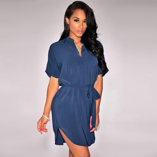 Stylish V Neckline Short Sleeve Curved Hem Belt Solid Casual Shirt Dress for WomenApparel &amp; Jewelry<br>Stylish V Neckline Short Sleeve Curved Hem Belt Solid Casual Shirt Dress for Women<br>