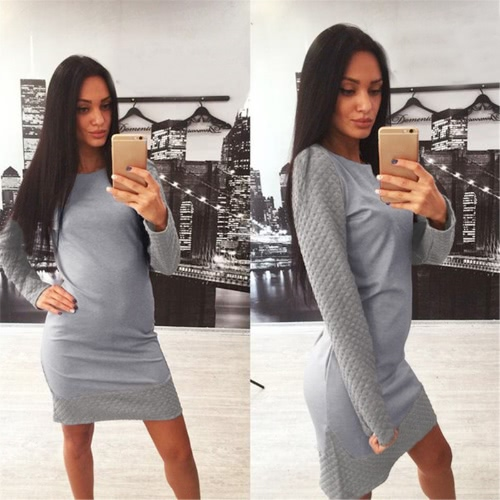 Fashion Women Sweater Dress Contrast Splicing Round Neck Long Sleeve Cocktail Party Dress Grey/Light GreyApparel &amp; Jewelry<br>Fashion Women Sweater Dress Contrast Splicing Round Neck Long Sleeve Cocktail Party Dress Grey/Light Grey<br>