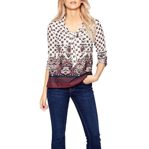 New Europe Women Blouse Retro Print Bow V-Neck Long Sleeve Casual Shirt Tops WhiteApparel &amp; Jewelry<br>New Europe Women Blouse Retro Print Bow V-Neck Long Sleeve Casual Shirt Tops White<br>