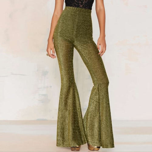 New Fashion Sexy Woman Flared Pants Boot Cut Wide Leg High Elastic Waist OL Party Trousers GoldApparel &amp; Jewelry<br>New Fashion Sexy Woman Flared Pants Boot Cut Wide Leg High Elastic Waist OL Party Trousers Gold<br>