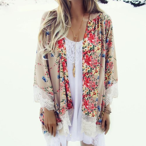 Vintage Women Loose Chiffon Kimono Cardigan Floral Print Lace Hem Long Sleeve Beach Casual Boho Outerwear Top KhakiApparel &amp; Jewelry<br>Vintage Women Loose Chiffon Kimono Cardigan Floral Print Lace Hem Long Sleeve Beach Casual Boho Outerwear Top Khaki<br>