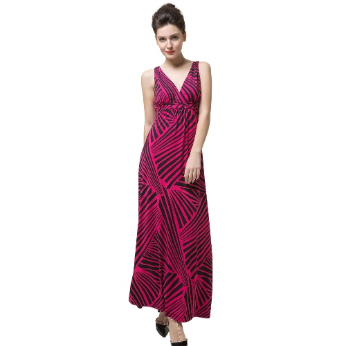 Contrast Stripe V Neck Sleeveless Open Back Womens Rose Maxi DressApparel &amp; Jewelry<br>Contrast Stripe V Neck Sleeveless Open Back Womens Rose Maxi Dress<br>