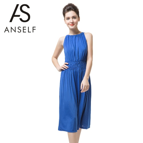 New Fashion Women Sleeveless Dress Slash Neck Drawstring Fold Split Sexy Dress BlueApparel &amp; Jewelry<br>New Fashion Women Sleeveless Dress Slash Neck Drawstring Fold Split Sexy Dress Blue<br>