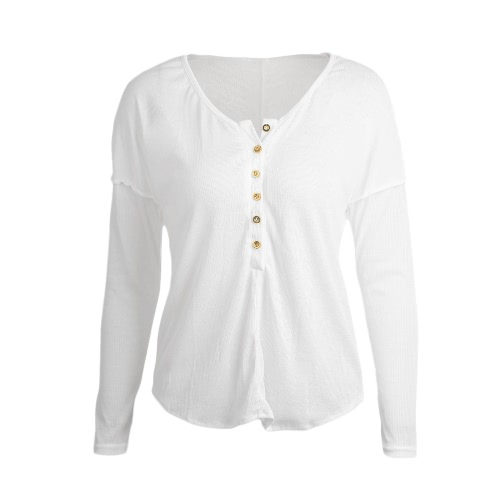 Fashion Button Long Sleeve Womens Solid Color T-ShirtApparel &amp; Jewelry<br>Fashion Button Long Sleeve Womens Solid Color T-Shirt<br>