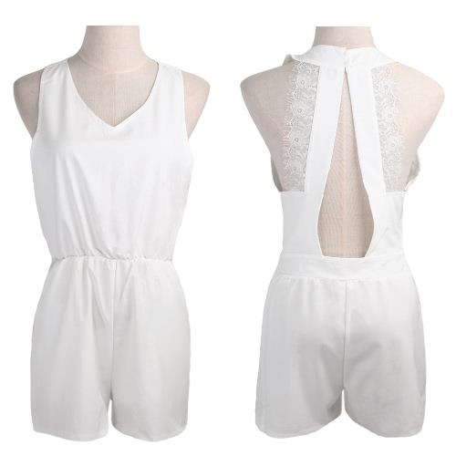 New Sexy Women Jumpsuit Open Back Lace Splice V Neck Sleeveless Casual Playsuit Rompers Culotte WhiteApparel &amp; Jewelry<br>New Sexy Women Jumpsuit Open Back Lace Splice V Neck Sleeveless Casual Playsuit Rompers Culotte White<br>