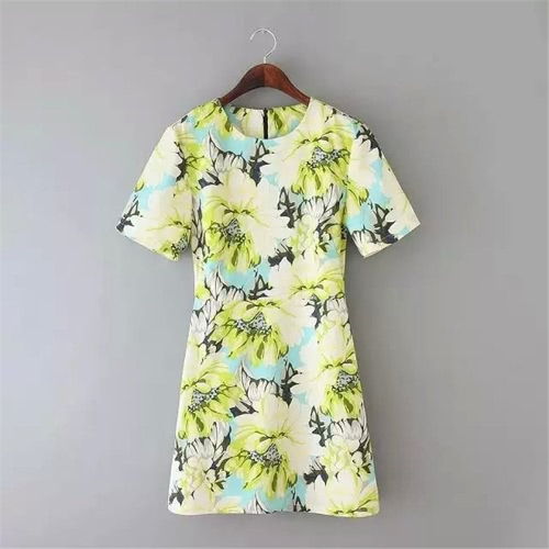 Sweet Floral Print O Neck Short Sleeve A-Line Slim Spring Summer Yellow Mini Dress for WomenApparel &amp; Jewelry<br>Sweet Floral Print O Neck Short Sleeve A-Line Slim Spring Summer Yellow Mini Dress for Women<br>