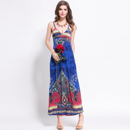 Bohemian Vintage Print Deep V Neck Padded Womens Blue Maxi DressApparel &amp; Jewelry<br>Bohemian Vintage Print Deep V Neck Padded Womens Blue Maxi Dress<br>