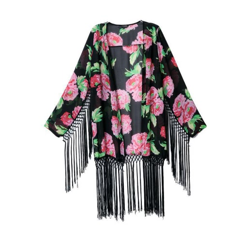 New Fashion Women Chiffon Cardigan Floral Print Tassel Long Sleeve Casual Outwear BlackApparel &amp; Jewelry<br>New Fashion Women Chiffon Cardigan Floral Print Tassel Long Sleeve Casual Outwear Black<br>