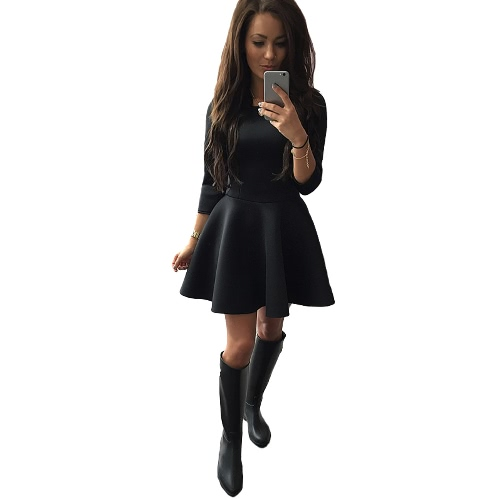 Fashion Women Dress O-Neck 3/4 Sleeve Back Zipper Solid Color Party A-lined Mini Dress Black/Red/GreyApparel &amp; Jewelry<br>Fashion Women Dress O-Neck 3/4 Sleeve Back Zipper Solid Color Party A-lined Mini Dress Black/Red/Grey<br>