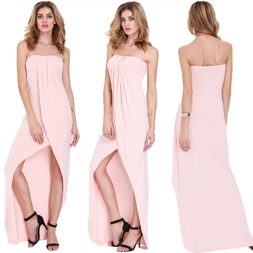 New Sexy Women Strapless Dress Bandeau Off Shoulder Draped Asymmetric Party Prom Gown Tube Dress PinkApparel &amp; Jewelry<br>New Sexy Women Strapless Dress Bandeau Off Shoulder Draped Asymmetric Party Prom Gown Tube Dress Pink<br>