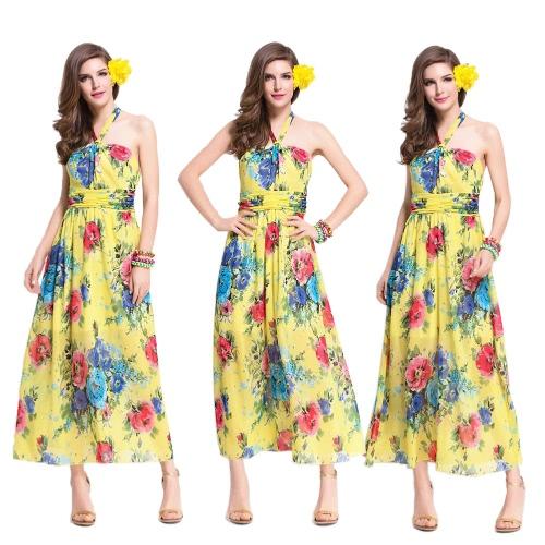 Summer Women Chiffon Dress Halter Floral Print Tie Waist Long Boho Beach Sundress YellowApparel &amp; Jewelry<br>Summer Women Chiffon Dress Halter Floral Print Tie Waist Long Boho Beach Sundress Yellow<br>
