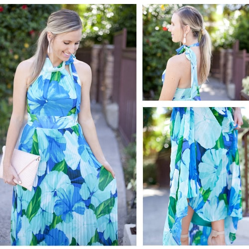 Summer Women Maxi Dress Chiffon Pleat Floral Print Halter Neck High Waist Beach Sundress BlueApparel &amp; Jewelry<br>Summer Women Maxi Dress Chiffon Pleat Floral Print Halter Neck High Waist Beach Sundress Blue<br>
