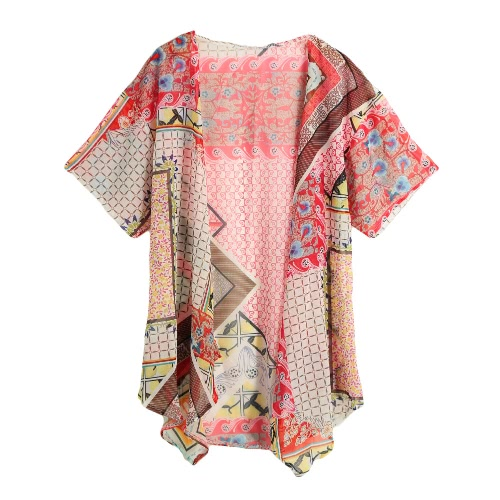 Vintage Geometry Print Half Bat Sleeve Sheer Chiffon Kimono for WomenApparel &amp; Jewelry<br>Vintage Geometry Print Half Bat Sleeve Sheer Chiffon Kimono for Women<br>
