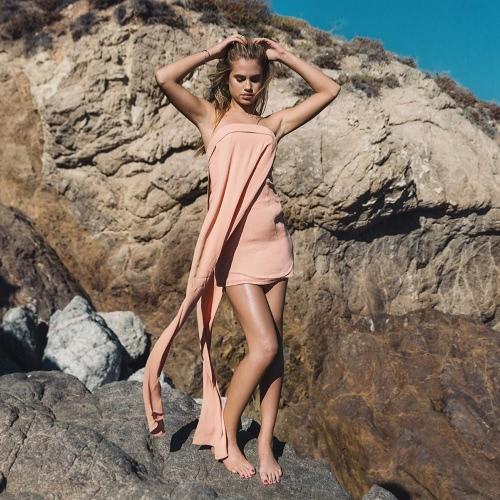 女性ストラッ プレス ドレス セクシーなパーティーのボディコン ドレス スラッシュ ネック ノースリーブ シフォン ドレス ピンク