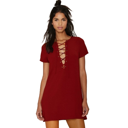 New Summer Women Mini Dress Lace Up Solid Color O-Neck Short Sleeves Casual Straight Dress Burgundy/Black/Dark GreenApparel &amp; Jewelry<br>New Summer Women Mini Dress Lace Up Solid Color O-Neck Short Sleeves Casual Straight Dress Burgundy/Black/Dark Green<br>