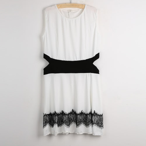 Sexy Women Mini Dress Cut Out Contrast Lace Sleeveless A-Line O Neck Back Zip Skater Dress Sundress White/BlackApparel &amp; Jewelry<br>Sexy Women Mini Dress Cut Out Contrast Lace Sleeveless A-Line O Neck Back Zip Skater Dress Sundress White/Black<br>