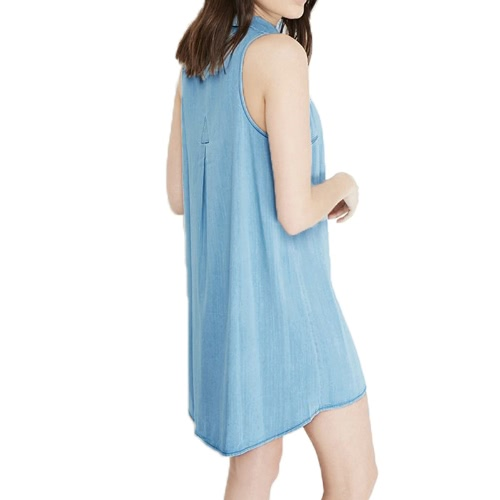 Summer Women Denim Dress Mini Turn-Down Collar Sleeveless Button Shirt Dress Light BlueApparel &amp; Jewelry<br>Summer Women Denim Dress Mini Turn-Down Collar Sleeveless Button Shirt Dress Light Blue<br>